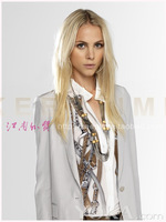 2014 new European and American star with money printing chain collar blouse white long-sleeved shirt