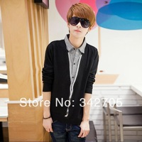 new men spring 2014 hot fashionable turn-down collar Coverd button sweater free shipping