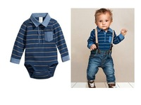 BB090 Free shipping 2014 new arrival baby clothing set fashion boy stripe t-shirt + overalls 2 pcs suit children clothing retail
