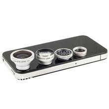 4in1 2x Wide Angle Marco+ Fisheye + 2X Telephoto Lens For iPhone 5 5s 4S 4 Samsung Galaxy S2/S3/S4 Note II III smart phone