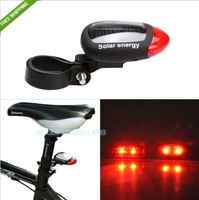 Bicycle Cycling Solar energy rechargeable Tail light super bright red LED Free shipping
