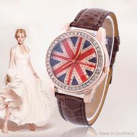 Casual Watches Brand Famous women Dress Watch Quartz Wristwatches Clock Hours UK Flag Punk women Rhinestone watch Quartz Coupon