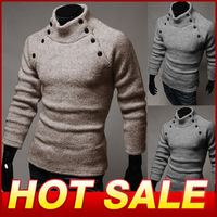 Men's long Sleeve T Shirt Knitwear TurtleneckButton T-shirts Male Fashion Top Brand Causal Slim Fit Tshirt For Men X113