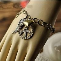 SL026 Fashion Vintage Peace Symbol Wings Peach Heart Bracelet Jewelry wholesales AAA!!! Free shipping