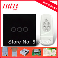 UK Model intelligent remote control switch and touch switch 3 gangs, tactile switch with glass cover, 433Mhz, free shipping