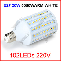 5 x E27 220V 20W 102 LEDs 5050 SMD LED Corn Light Lamp Corn Bulb White/Warm White Lighting Free Shipping