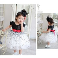 2014 New Children Clothing Baby Girls Dots Bow Kids Princess Dress Summer Sleeveless Tiered party Dancing TUTU Dress