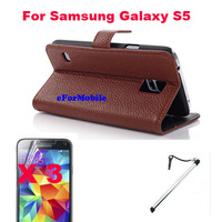 2014 New Wallet Book Case Leather Case + Screen Protector + Touch Pen For Samsung Galaxy S5 GS 5 I9600
