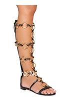 Hot Sale Gladiator Sandal Gold Metal Circle Design Long Zip Up Sandal Flat Summer Boots For Women