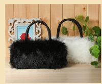 2014 autumn and winter female bags faux fur one shoulder cross-body bag small