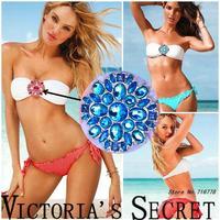 New 2014 Jeweled bikini Fashion Brand VS push up swimwear Sexy bandeau piece swimsuit for women Free shipping