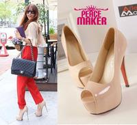 Women pumps Round toe Open toe leather women pumps Fashion Pure color pumps 2014 new fashion leather thin heels shoes