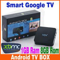 wholesale XBMC mx2 Android TV box Amlogic 8726-MX Dual core 1.5GHz 1GB RAM 8GB M6 midnight droidbox Player Set top box 10pcs/lot
