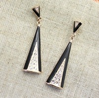 Wholesale Italina Rhinestone Crystal Triangle Drop Earrings with 18K Gold Plated Free Shipping