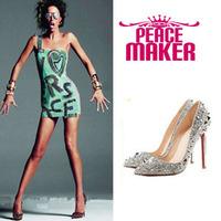 Women pumps point toe Colse toe leather women pumps Fashion full Rivte pumps 2014 new fashion leather thin heels shoes