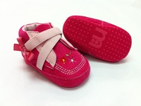 Comfortable baby shoes girl's rosa flower deco middle ankle