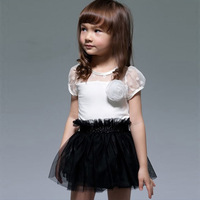 Free shipping 2014  new fashion summer kids black white patchwork flower Princess Mini Dress girls beautiful dress#KS0104