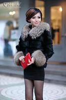 EMS Free Shipping 100% Real Genuine Natural Raccoon Fur Collar Rabbit Short Fur Coat Overcoat Jackets Garment For Women PC415