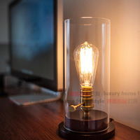 Loft vintage fashion classic bedside log glass cover table lamp