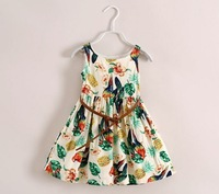 2014 New Fashion children dress Euro& USA style kids bird dress floral girl's dresses with leather belt cotton lining