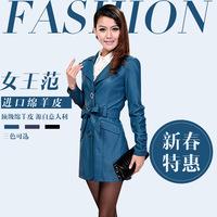 Spring genuine leather clothing female sheepskin women's medium-long slim leather trench female outerwear