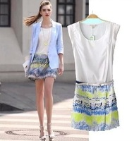 Women wholesale 2014 lily spring and summer waist patchwork one-piece dress sweep gradient print sleeveless tank dress