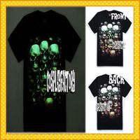 Free Shipping Fluorescent O-Neck Skulls 3D Plus Size Cotton Tshirt,0.6kg/pc