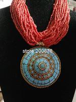 TNL224  Tibetan handmade Big Pendant beaded necklace,Nepal Indian vintage ethnic jewelry, wholesle Tibet jewel