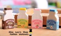 2014 new arrival 1LOT OF 5sets(2pcs/set)milk bottle colorful set eraser/korean cute stationery