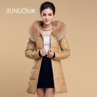 new for spring Genuine sheepskin leather clothing down coat fox fur slim leather women's medium-long down hooded