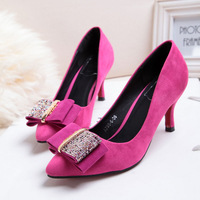 Tianyi 2014 pointed toe thin heels single shoes rhinestone sparkling diamond bow spring shoes buddhistan red with the women's