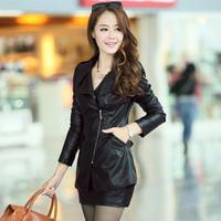 Women's PU clothing 2014 spring slim motorcycle PU clothing medium-long outerwear leather jacket leather clothing female