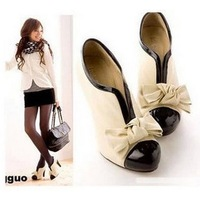 Tianyi bow japanned leather patchwork v thick high-heeled single shoes women's shoes 178