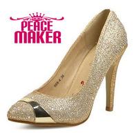 Women pumps point toe Colse toe leather women pumps Fashion glitter body pumps 2014 new fashion leather thin heels shoes