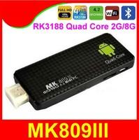 MK809III Quad Core 1.6G 3D IPTV mini pc pcs RK3188 Androind 4.2 Smart TV Stick box 2G 8G MK809 III support Bluetooth and HDMI