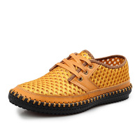 2014 men Genuine leather casual shoes breathable shoes hollow out shoes breathable  single shoes