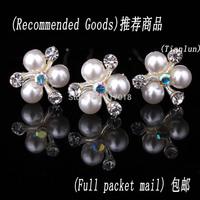 12pcs Lot  Clear Crystal Rhinestone Diamante Pearl Flower Women Wedding Bridal  Hair Pin Clips Free Shipping