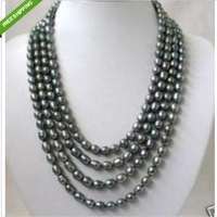 100'' Genuine south sea Black gray Pearl Necklace