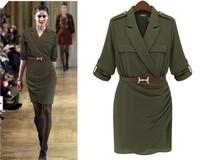 Army Green Dress 2014 Military  Women Summer Dresses Vintage Camouflage Desgin Chiffon Flax Blends Made