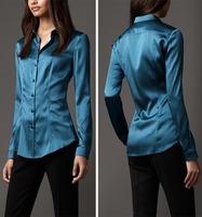 Fashion elegant basic shirt high quality silk satin long-sleeve slim shirt top basic cs14
