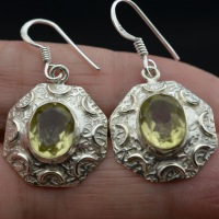 Nepal handmade silver antique 925 pure silver natural topaz earrings stud earring