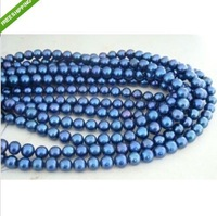 "68"" 8-9MM TAHITIAN PERFECT PEACOCK BLUE PEARL NECKLACE 14K"