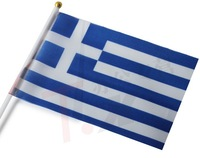 The Greek flag hand waving a small flag