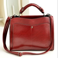 2014 new spring trend PU leather handbag  fashion recreation shoulder bags wholesale wine red crossbody bag vintage style