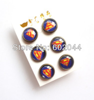wholesale New 24 Pair Beautiful Cartoon Superman girl's cute fashion Earrings Free shipping