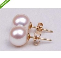 noblest savageness 9-10MM round AAA++ south sea white pearl earrings 14KG