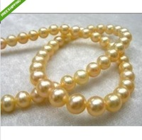 "Huge Round south sea AAA 9-10mm golden pearls necklace 18"" 14K CLASP"