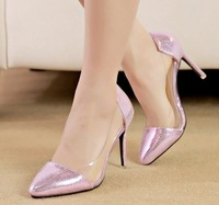 Hot-Selling Gold High-Heeled Shoes Work ShoesTthin Heels Shallow Mouth Transparent Glue Metal Pointed Toe Shoes Pumps