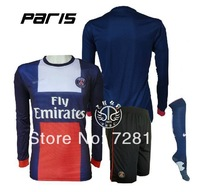 New 13/14 Paris saint German home Blue Long sleeve Soccer jersey Kits+sock,PSG #10 Ibrahimovic Football Jersey uniforms+socks