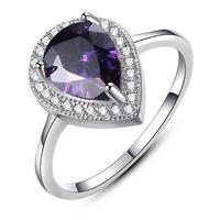 2014 Lady Rings Amethyst CZ White Silver Rings For Women Drop Tear Amethyst Ring (Silveren Si1272)